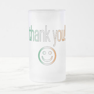 Thank You! Ireland Flag Colors Frosted Glass Beer Mug