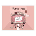 Thank You Just Married Wedding Postcard