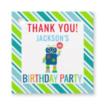 Thank You Kids Colorful Robot Birthday Party Favor Tags