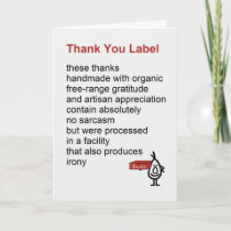 Thank You Label - a funny Thank You poem