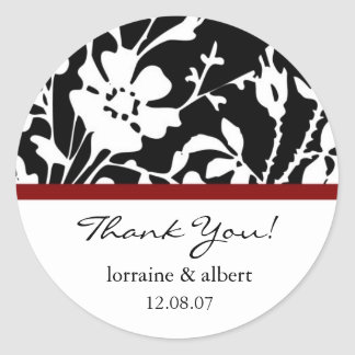 Thank You Labels, Black Floral Top Classic Round Sticker