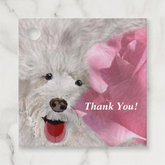 Thank You Labradoodle and Rose  Favor Tags