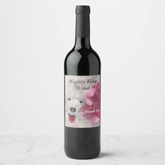 Thank You Labradoodle and Rose  Wine Label