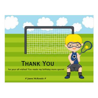 Thank You Lacrosse birthday Postcard
