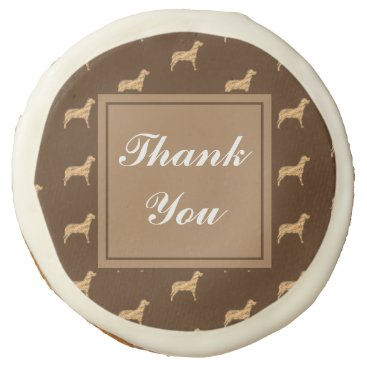 Thank You Large Brown Dog Pattern Appreciation Sugar Cookie