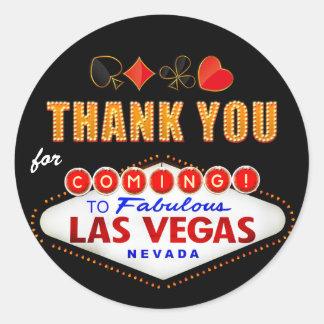Thank You - Las Vegas Sign Fabulous Casino Night Classic Round Sticker
