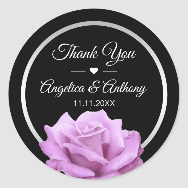 Thank You Lavender Purple Rose Wedding Seals