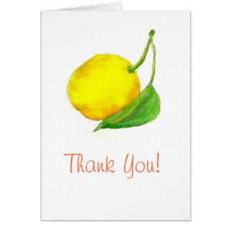 Thank You Lemon Fruit Watercolor Art Painting Card