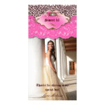 Thank You Leopard Lace Jewel Sweet 16 Pink Photo Card