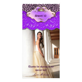 Thank You Leopard Lace Jewel Sweet 16 Purple Card