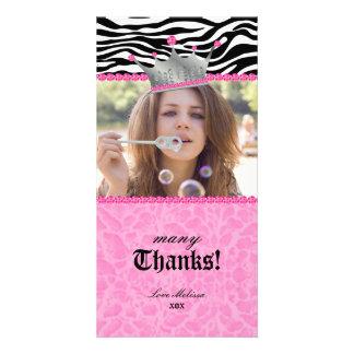 Thank You leopard zebra Lace Crown Jewel Sweet 16 Card