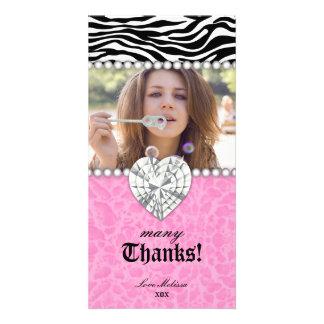 Thank You leopard zebra Lace Pearls Jewel Sweet 16 Card