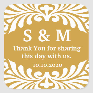 Thank You Letter Monogram Wedding Favor Labels Square Stickers