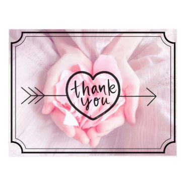"""Thank you!!"" Lettering on Pink Petals in Hands Postcard"