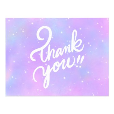 """Thank you!!"" Lettering on Purple Galaxy Postcard"