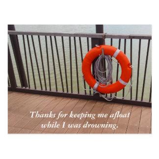Thank You, Life Buoy, Gratitude Postcard