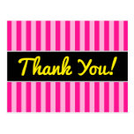 "[ Thumbnail: ""Thank You!"" + Light Pink & Deep Pink Stripes Postcard ]"