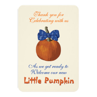 Thank You Lil Pumpkin with Blue Bow Tie Card