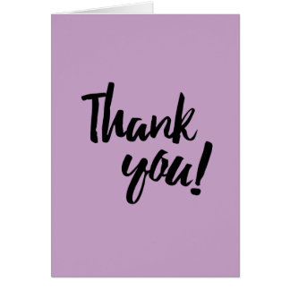 Thank You Lilac Purple Pastel Black Brush Script Card