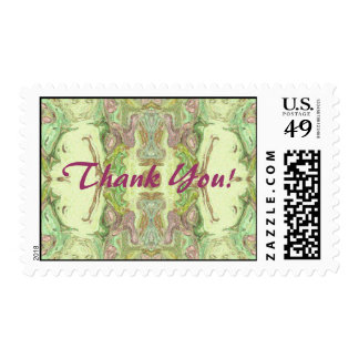 Thank You - Lime and Pink Abstract Postage