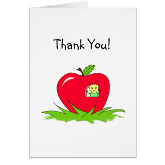 Thank You - Little Bug In Bright Red Apple House Card