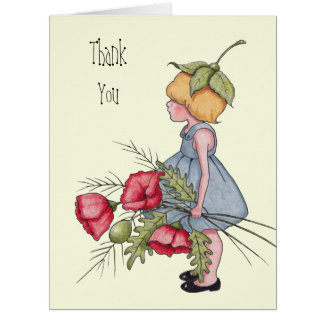 Thank You, Little Girl with Poppy Flowers, Art Card
