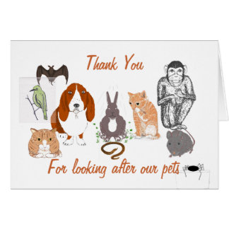 Thank you -looking after Pets Card