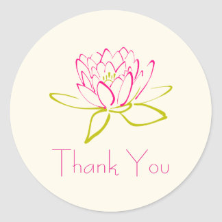 Thank You Lotus Flower / Water Lily Illustration Classic Round Sticker