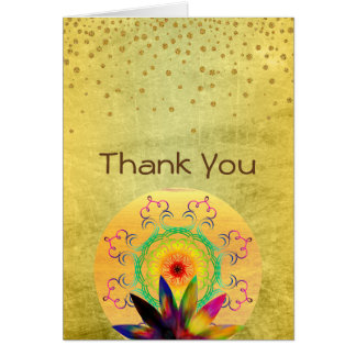 Thank You Lotus Flower Watercolor Holistic Card