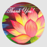 Thank You Lotus Water Lily Flower Painting - Multi Classic Round Sticker