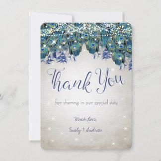 Thank You Luxe Peacock Navy Aqua Silver Wedding