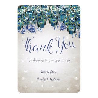 Thank You Luxe Peacock Navy Aqua Silver Wedding Card