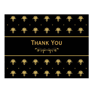 Thank You Luxury Black and Gold Damask Pattern Postcard