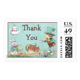 Thank You Mad Hatter's Wonderland Tea Party Postage Stamp