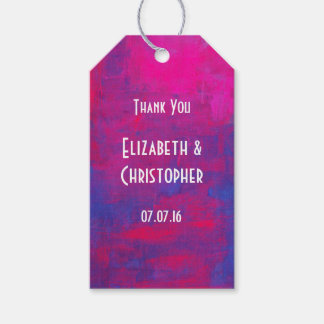 Thank You Magenta and Blue Abstract Painting Gift Tags