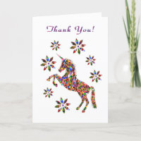 Thank You Magical Unicorn Flowers Personalize Card