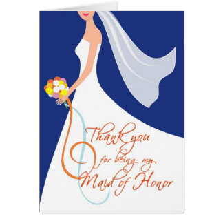 Thank you Maid of Honor - Navy Blue 3 Greeting Cards