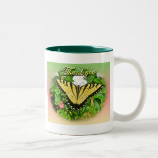 Thank You Male Tiger Swallowtail Butterfly Items Two-Tone Coffee Mug