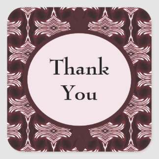 Thank You Maroon Art Deco Square Sticker