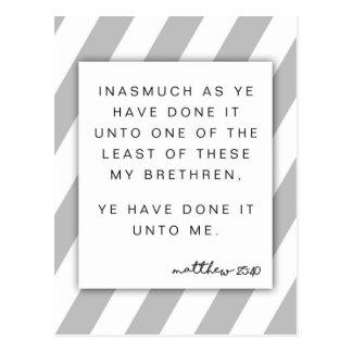 Thank you - Matthew 25:40  Ye have done it unto me Postcard