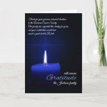 Thank You Memorial Donation Blue Candlelight Name Card