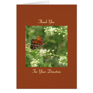 Thank You Memorial Donation, Orange Butterfly Note Stationery Note Card
