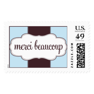 Thank You Merci Beaucoup Stamp Blue