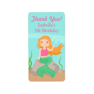 Thank You Mermaid Girls Birthday Party Labels