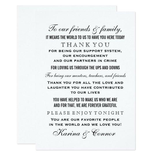 Thank You Message Card   Black Wedding