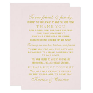 Thank You Message Card | Gold Wedding