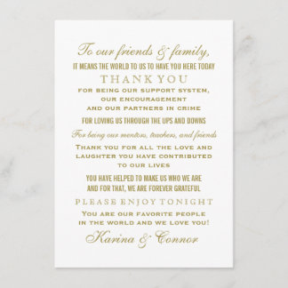 Thank You Message Card | Vintage Gold Wedding