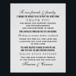"Thank You Message Sign | Black Wedding<br><div class=""desc"">Custom thank you message poster / sign addressed to wedding guests to be displayed at the wedding. Black custom text and white background color can be customized,  and bride &amp; groom names can be personalized. Use a frame to display.</div>"