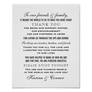 Thank You Message Sign | Black Wedding