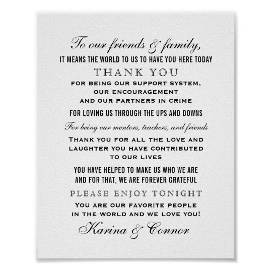 Thank You Wording For Wedding Gifts: Thank You Message Sign